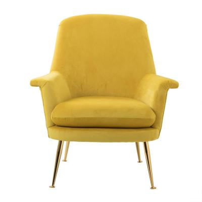 Yellow Dutch Velvet Fabric Upholstered Lounge Chair With Cushion