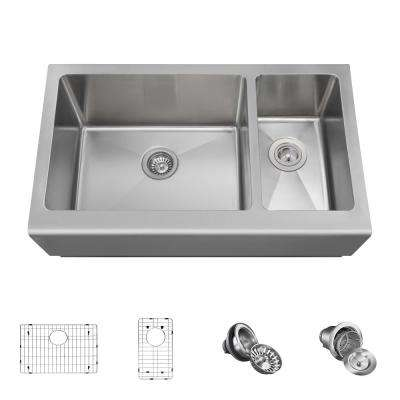 All-in-One Farmhouse Apron Front Stainless Steel 33 in. Left Double Bowl Kitchen Sink