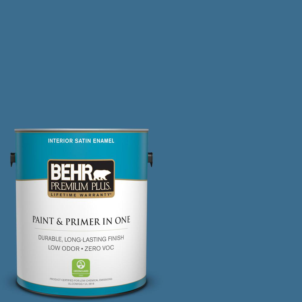 BEHR Premium Plus 1-gal. #M500-5 Sojourn Blue Satin Enamel Interior Paint
