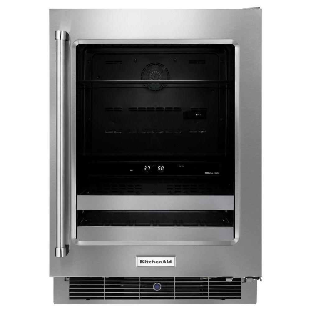 kitchenaid 24 in dual zone 14 bottle wine cooler kubr304ebs the rh homedepot com