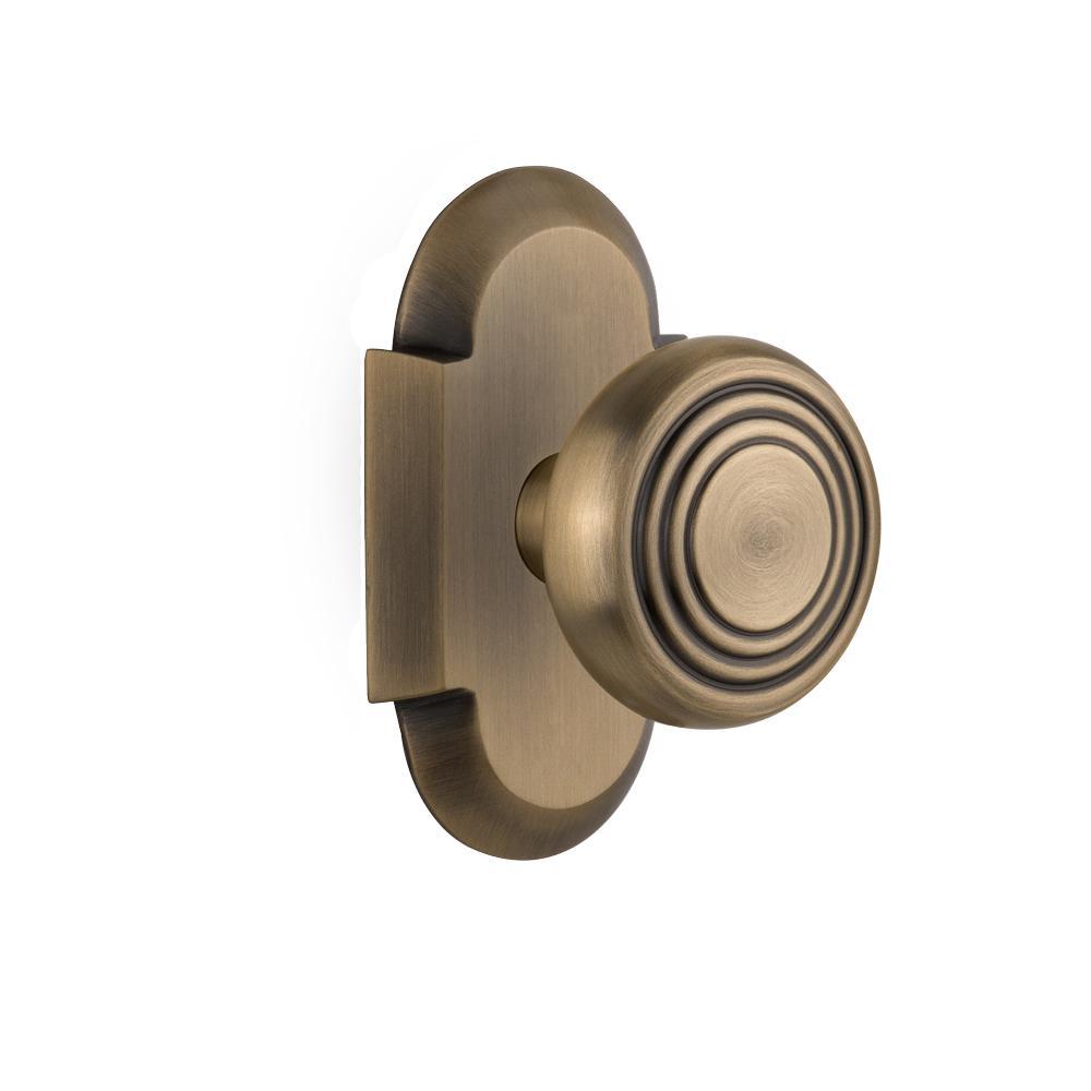 Backset Antique Brass Privacy Deco Door Knob