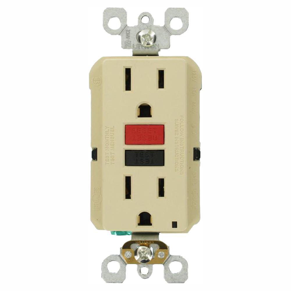 15 Amp Self-Test SmartlockPro Slim Duplex GFCI Outlet, Ivory (3-Pack)