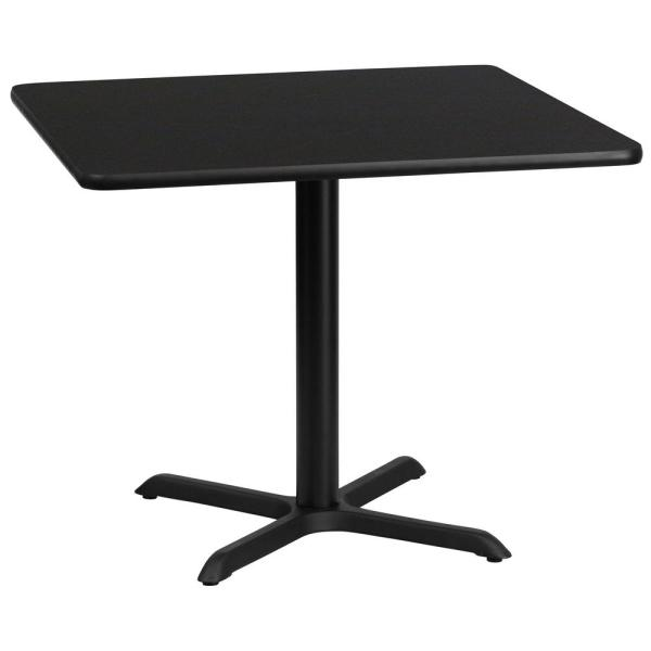 36 in. Square Black Laminate Table Top with 30 in. x 30 in. Table Height Base