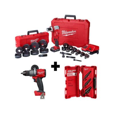 M18 18-Volt Lithium-Ion Cordless 1/2 in. to 4 in. Force Logic 6 Ton Knockout Tool Kit w/ Hammer Drill and Step Bits Set