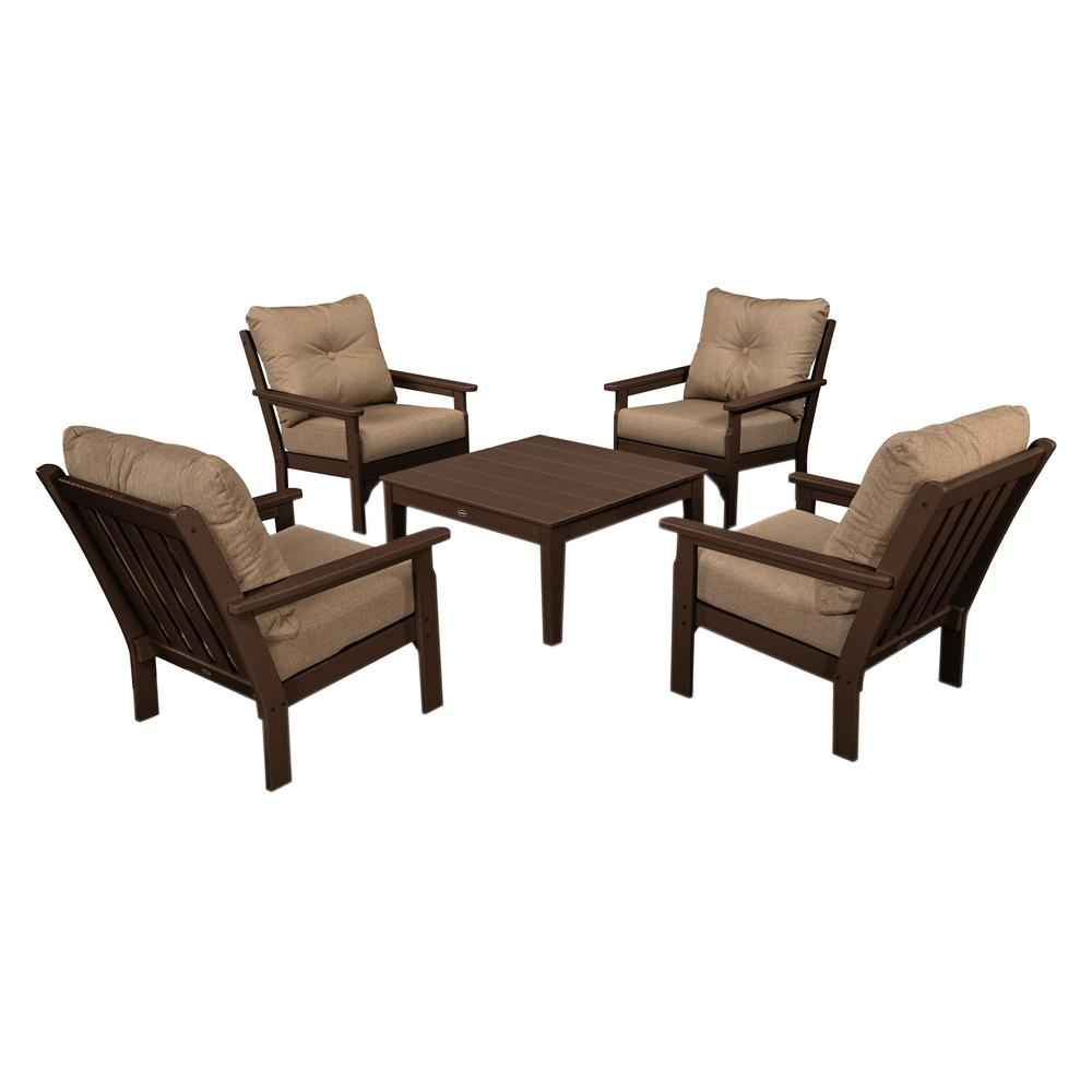 Vineyard Mahogany 5-Piece Plastic Patio Conversation Set with Sunbrella Sesame