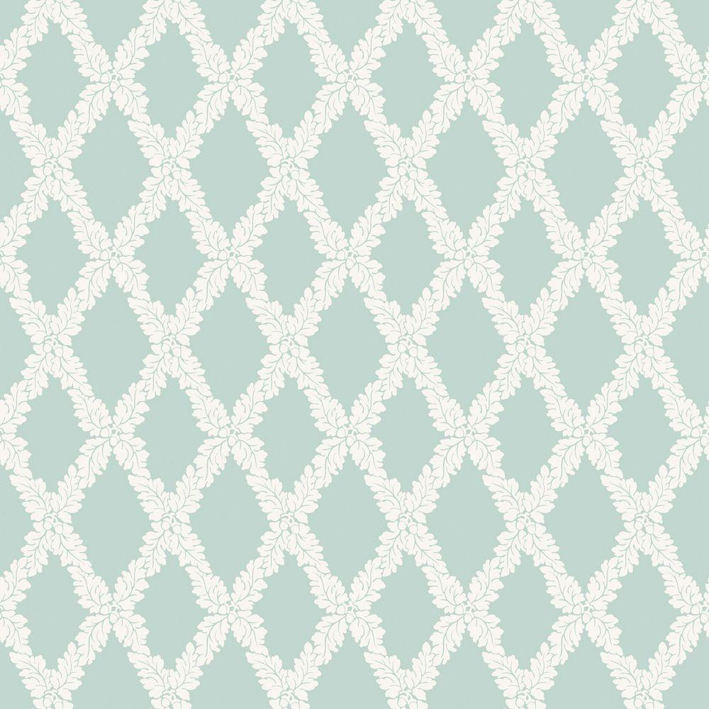 The Wallpaper Company 8 in. x 10 in. Blue Pastel Acorn Trellis Wallpaper Sample-DISCONTINUED