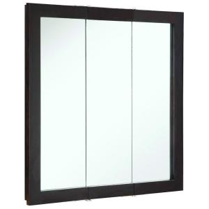 Design House Ventura 30 In W X H 6 D Framed Tri View Surface Mount Bathroom Medicine Cabinet Espresso 541342 The Home Depot