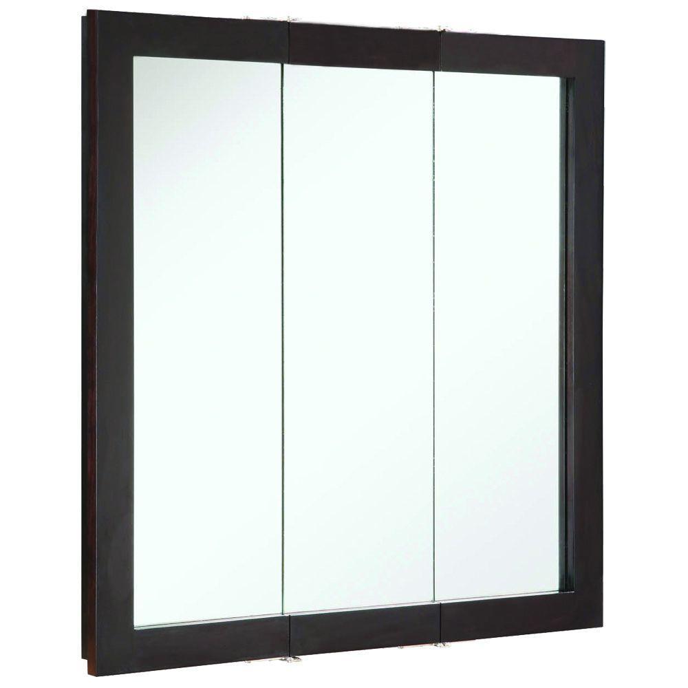 Ventura 30 in. W x 30 in. H x 6 in. D Framed Tri-View Surface-Mount Bathroom Medicine Cabinet in Espresso