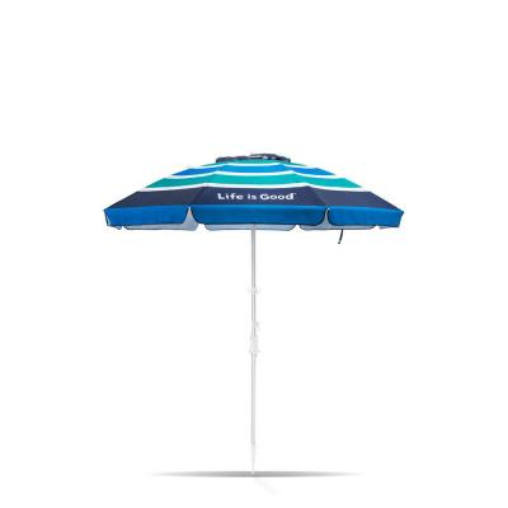 7 ft. Aluminum Market Tilt Patio Beach Umbrella in Green and Blue Stripe