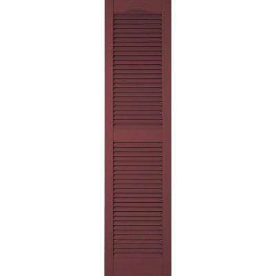 14-1/2 in. x 56 in. Lifetime Vinyl Custom Cathedral Top Center Mullion Open Louvered Shutters Pair Wineberry