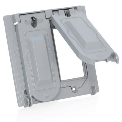 2-Gang Weather-Proof Cover with Metal Flat Lid for Decora, GFCI, Duplex or Single Outlet Horizontal Mount, Gray