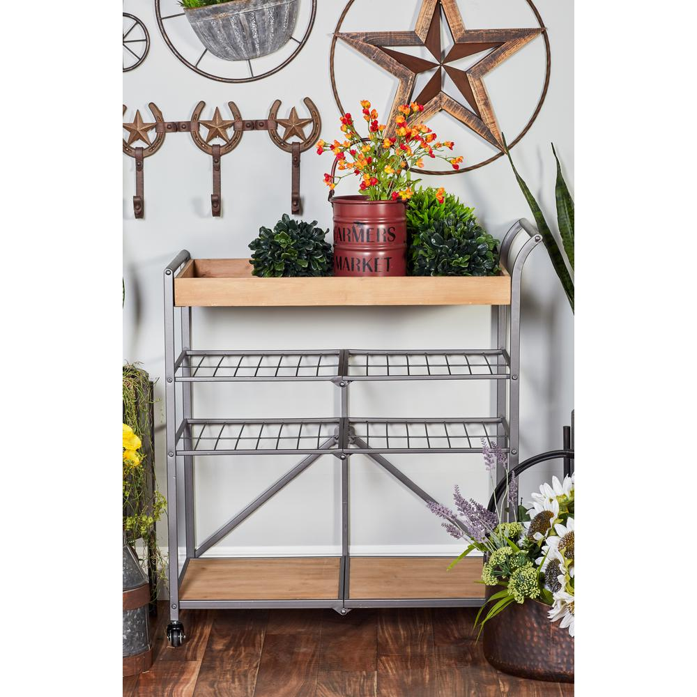 Light Brown 4-Tier Cart with Gray Iron Framing and Wheels