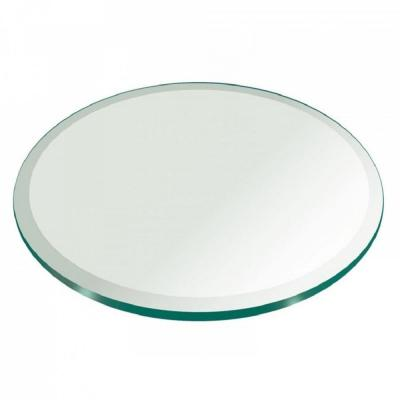 52 in. Clear Round Glass Table Top, 1/2 in. Thickness Tempered Beveled Edge Polished