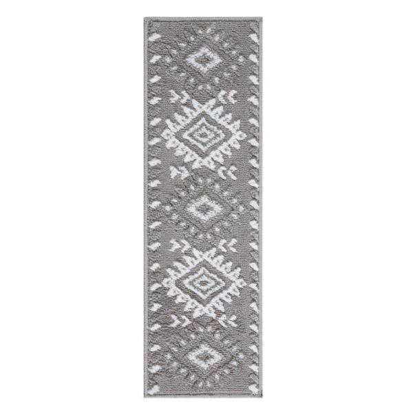 Traditional Collection Gray 9 in. x 28 in. Polypropylene Stair Tread Cover (Set of 13)