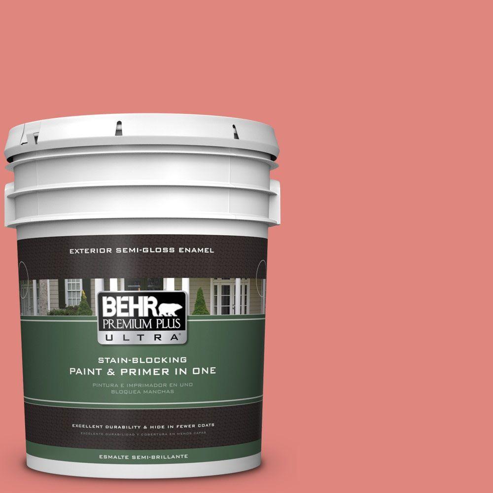 BEHR Premium Plus Ultra 5-gal. #170D-5 Mellow Coral Semi-Gloss Enamel Exterior Paint