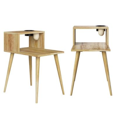 Freemont 15.75 in. Natural Rectangle Solid Wood End Tables with Shelf (Set of 2)