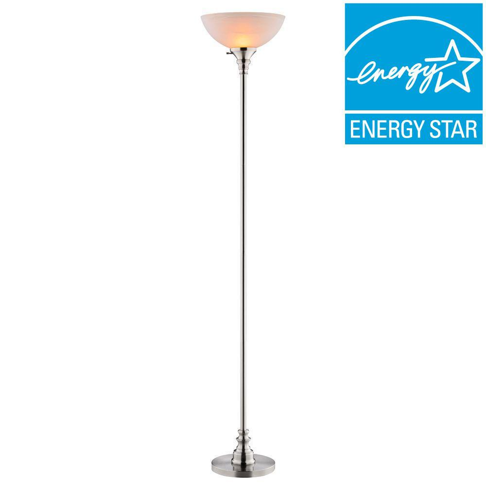 Hampton Bay Bolton 70.5 In. Brushed Nickel Torchiere Lamp With TTL 20  Compliant Fixture