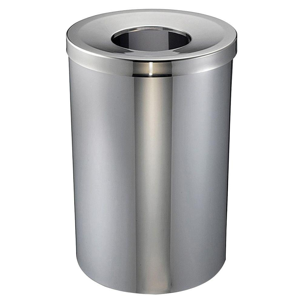 Genuine joe 30 gal stainless steel round open top trash for Commercial bathroom trash cans