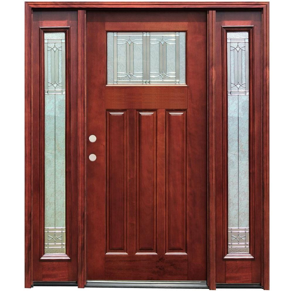 Pacific Entries 70 in. x 80 in. Diablo Craftsman 1 Lite Stained Mahogany Wood Prehung Front Door w/ 6 in. Wall Series & 14 in. Sidelites