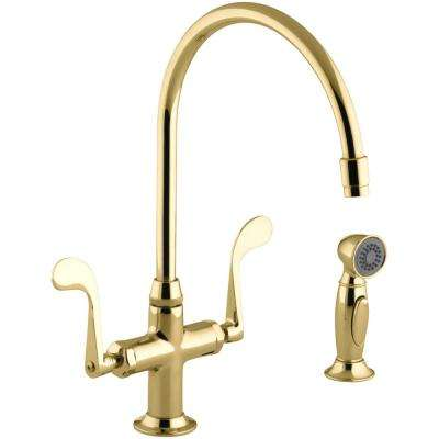 Essex 2-Handle Standard Kitchen Faucet with Side Sprayer in Vibrant Polished Brass