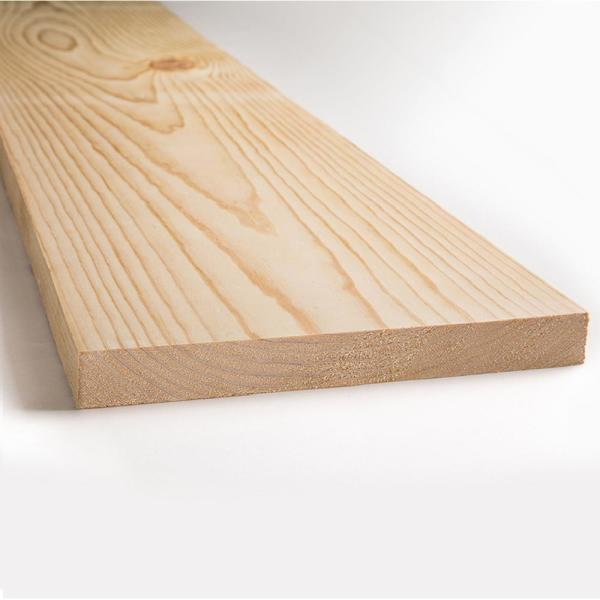 1 in. x 12 in. x 8 ft. Kiln Dried Square Edge Whitewood Common Board