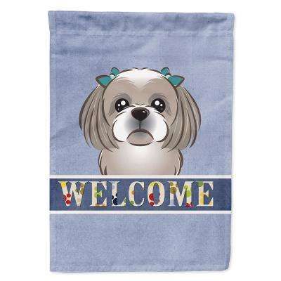 11 in. x 15-1/2 in. Polyester Gray Silver Shih Tzu Welcome 2-Sided 2-Ply Garden Flag
