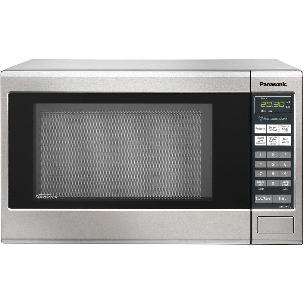 Panasonic Family Size 1.2 cu. ft. 1200 Watt Countertop Microwave in Stainless Steel Front and Silver Body-DISCONTINUED