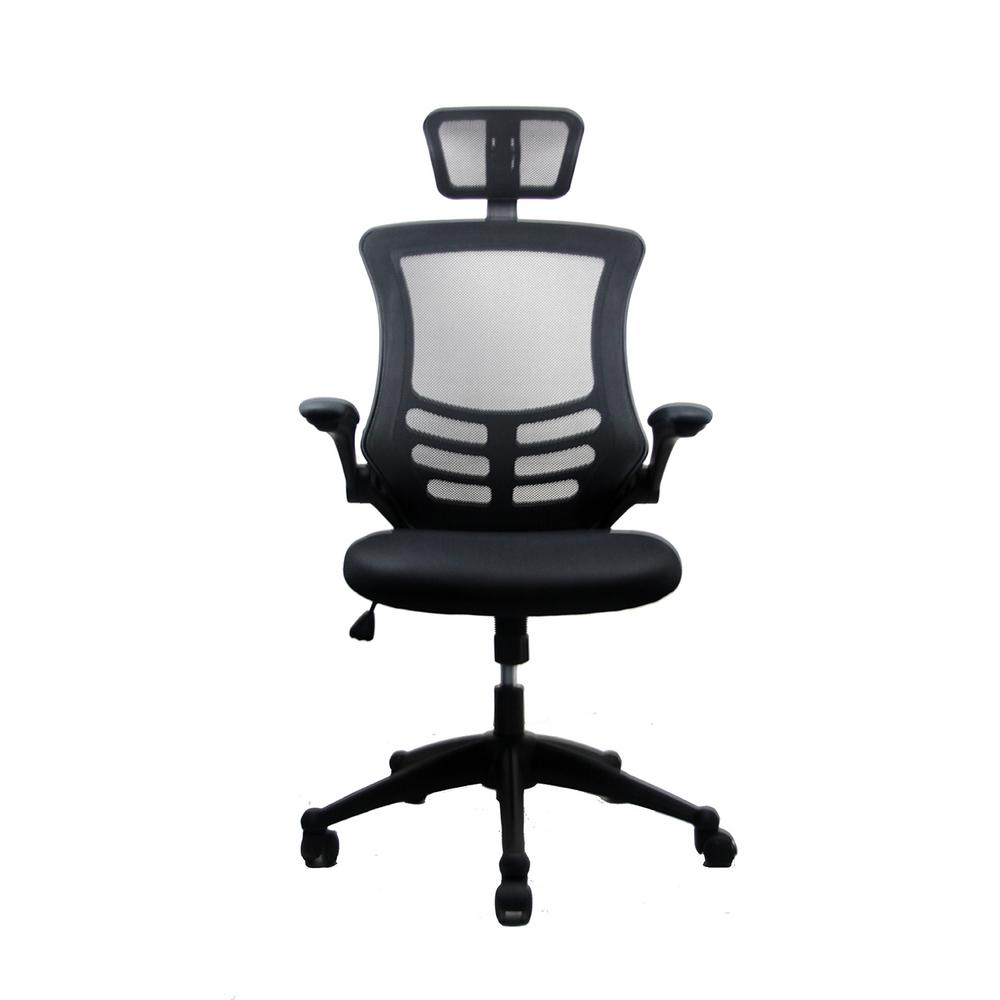 Techni Mobili Black Modern High Back Mesh Executive Office Chair With  Headrest And Flip Up