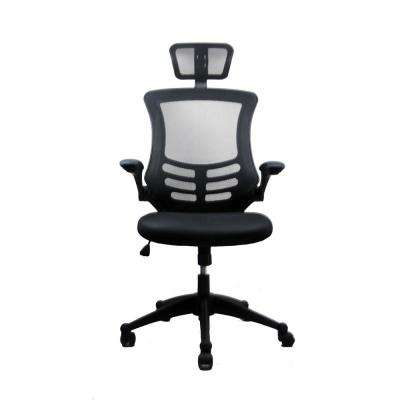 Black Modern High-Back Mesh Executive Office Chair with Headrest And Flip Up Arms