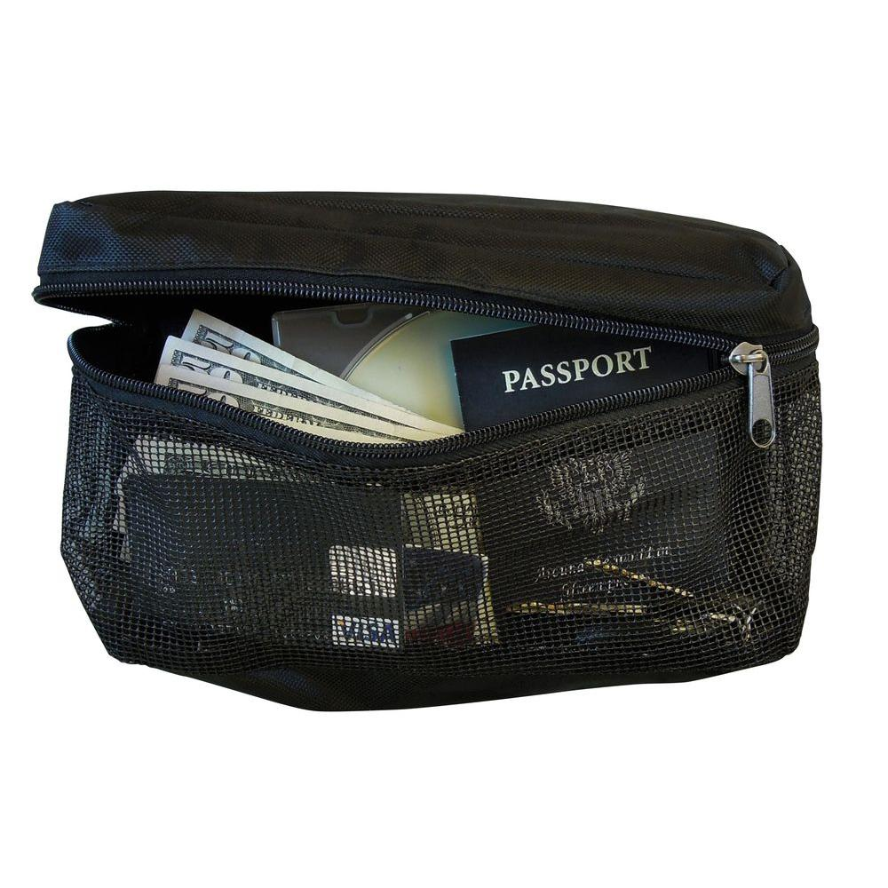 Zippered Hoop and Loop Pouch Safe with Plastic Mesh, Black