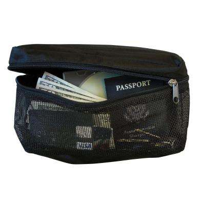 Zippered Hoop and Loop Pouch Safe with Plastic Mesh