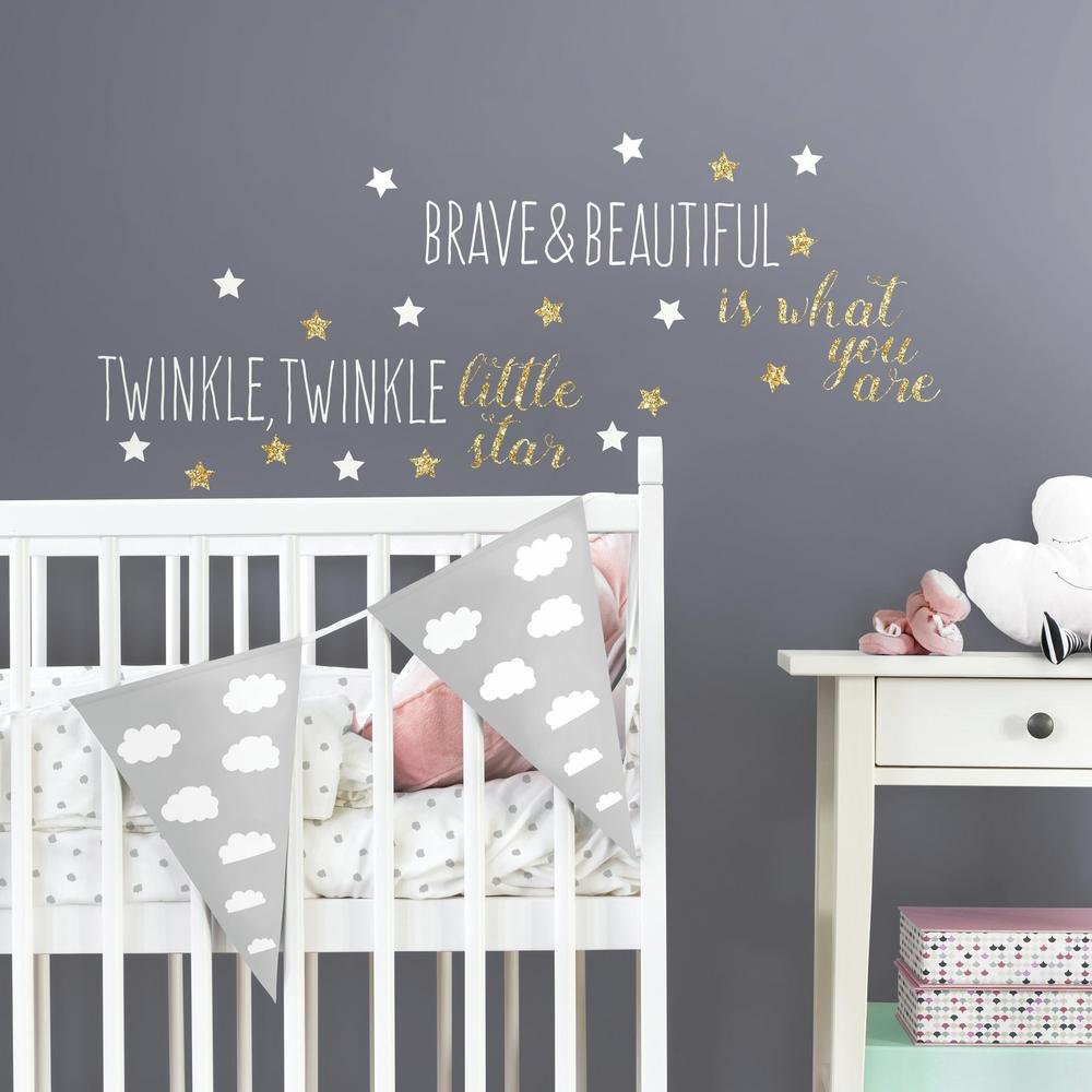 RoomMates In X In Twinkle Twinkle Little Star Quote - Nursery wall decals home depot
