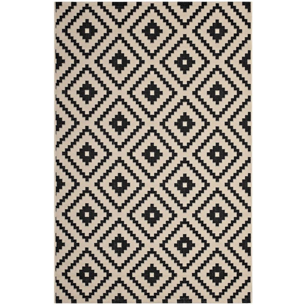 Modway Perplex In Black And Beige 5 Ft X 8 Ft Geometric Diamond Trellis Indoor And Outdoor Area Rug R 1134a 58 The Home Depot