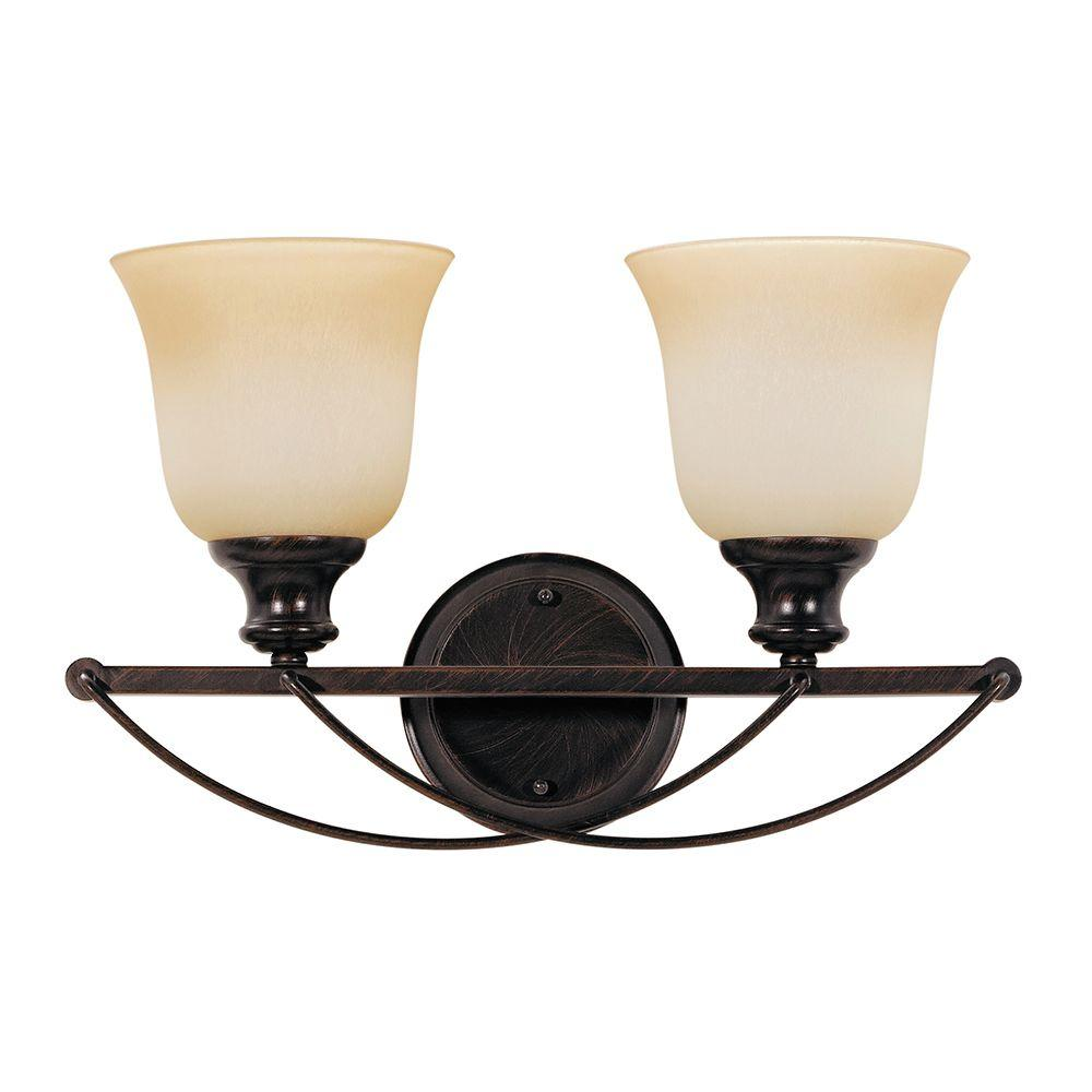 Sea Gull Lighting Park West 2-Light Burnt Sienna Wall/Bath Vanity Light with Cafe Tint Glass