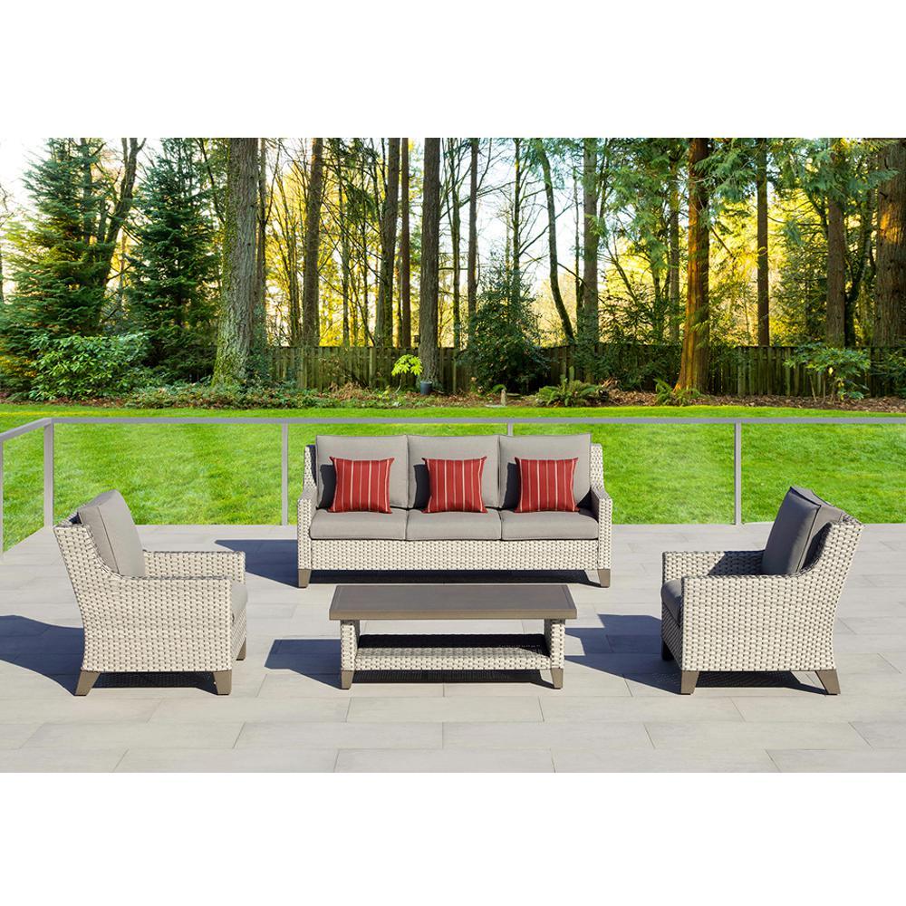 Soho 4-Piece Aluminum Conversation Set with Sunbrella Gray Cushions