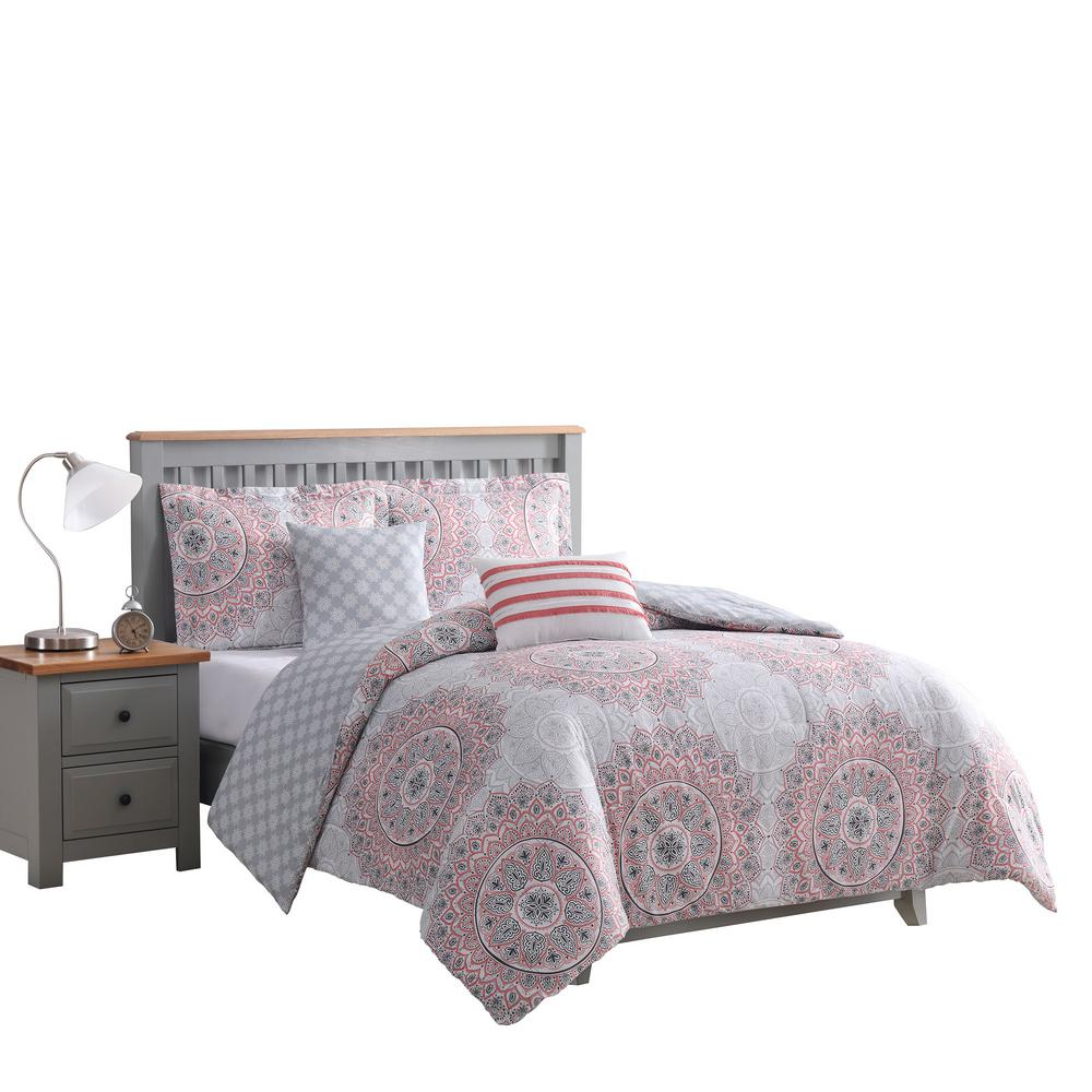 Annabelle 5-Piece Coral Reversible King Comforter Set