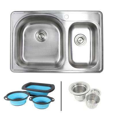 Topmount Drop-In 18-Gauge Stainless Steel 33 in. 1 Hole 70/30 Double Bowl Kitchen Sink w/ Collapsible Silicone Colanders