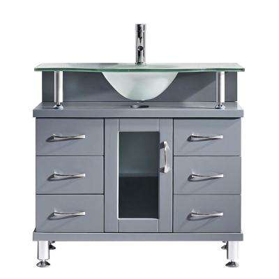 Vincente 36 in. W Bath Vanity in Gray with Glass Vanity Top in Frosted Green with Round Basin