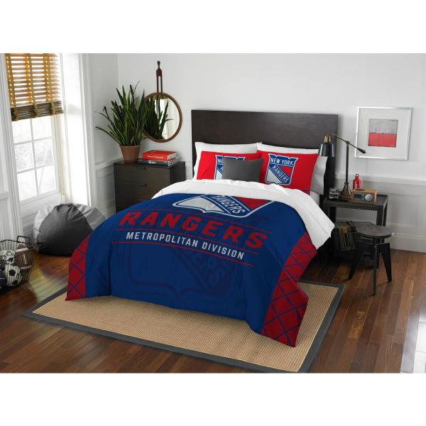 NHL NY Rangers Draft 3-Piece Multi-Color Polyester Full/Queen Comforter Set