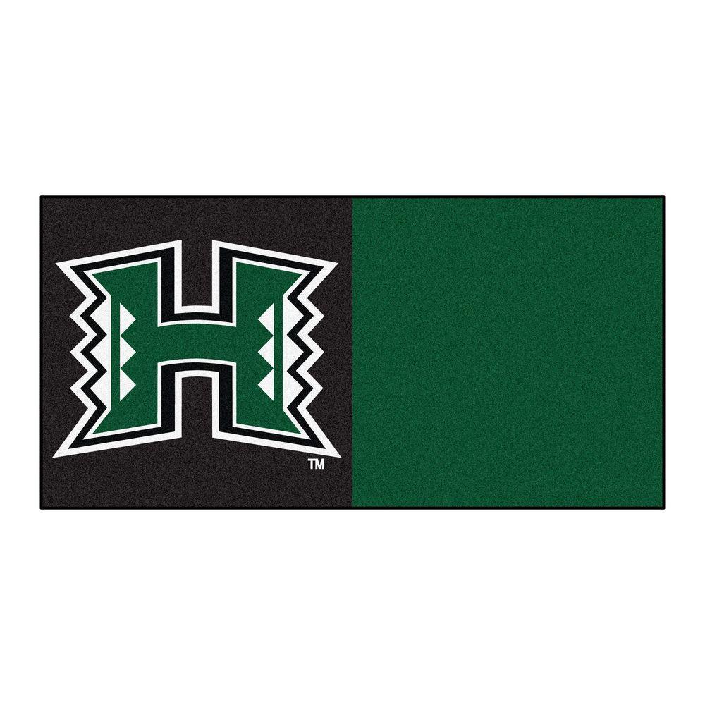 Fan Mats Ncaa - University of Hawaii Green and Black Patt...