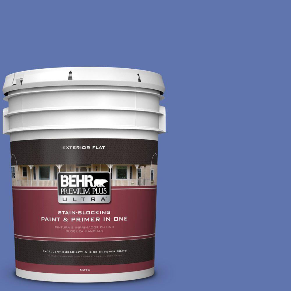 5-gal. #600B-6 Sudden Sapphire Flat Exterior Paint
