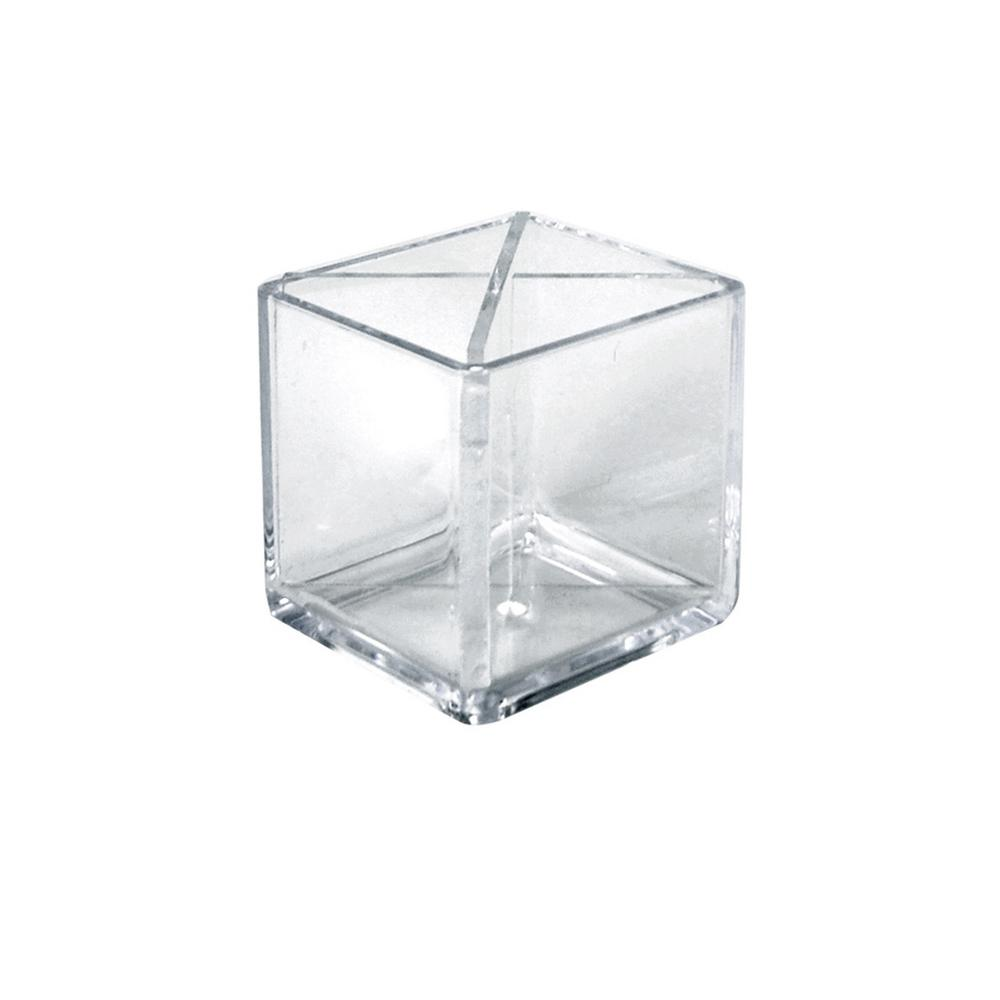 Clear Desktop Collection 4 in. Cube Crystal Styrene Pencil Holder with
