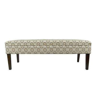 Kaya CotAsh Silver Leaf Button Tufted Upholstered Bench