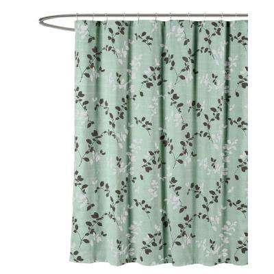 Meridian Printed Cotton Blend 72 in. W x 72 in. L Soft Fabric Shower Curtain in Light Gray/Beige