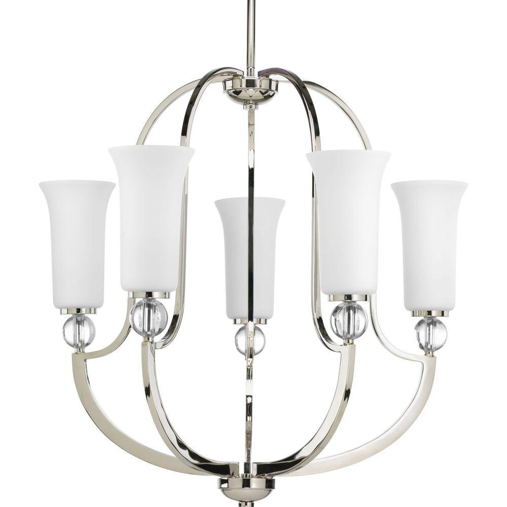 Elina Collection 5-Light Polished Nickel Chandelier with Shade with Opal Glass