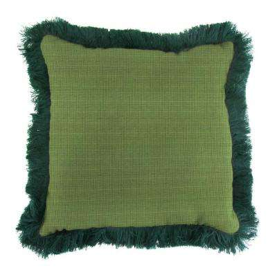 Sunbrella Surge Cilantro Square Outdoor Throw Pillow with Forest Green Fringe