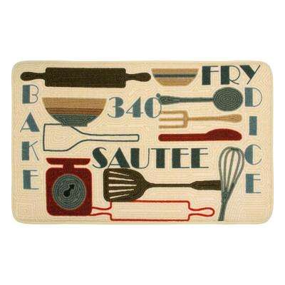 Retro Utensils 20 in. x 32 in. HD Printed Kitchen Rug