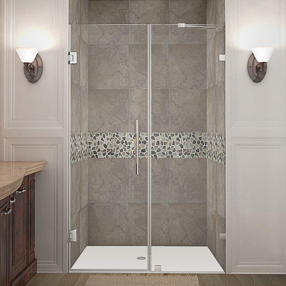 Aston Nautis 44 in. x 72 in. Frameless Hinged Shower Door in Stainless Steel with Clear Glass