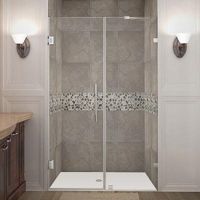 Nautis 44 in. x 72 in. Frameless Hinged Shower Door in Stainless Steel with Clear Glass