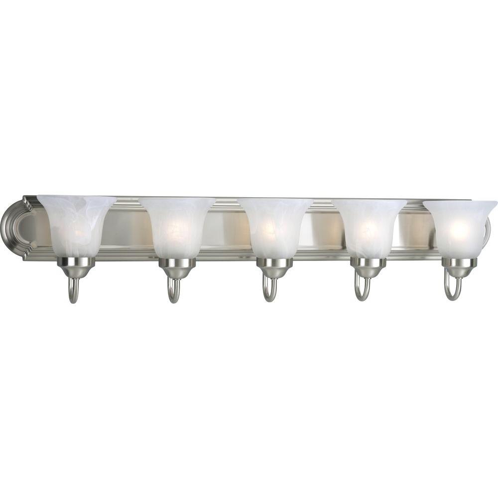 5 light brushed nickel bathroom vanity light with glass shades